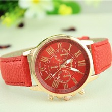 Alibaba Cheaper Wholesale NEW Geneva Watch women Fashion Quartz Watches Leather Young Sports Women gold watch