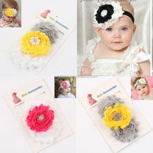 New Fashion Baby Girl Chiffon Flower Headbands Rhinestone Pearl Shabby Lace Flowers Elastic Headbands Wholesale