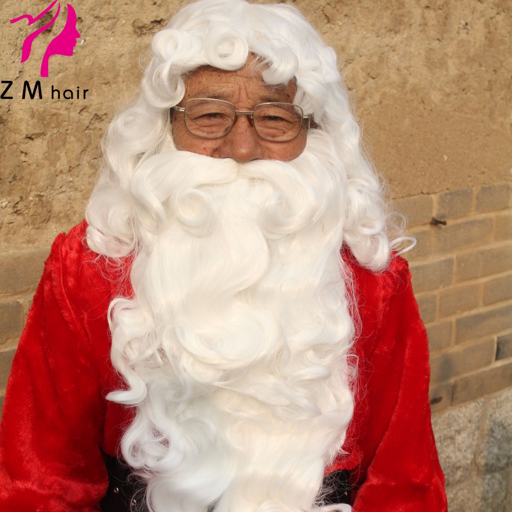 wholesale synthetic machine made Santa wig and beard set cheap