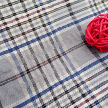 The new polyester cotton yarn dyed checked seersucker dress fabric