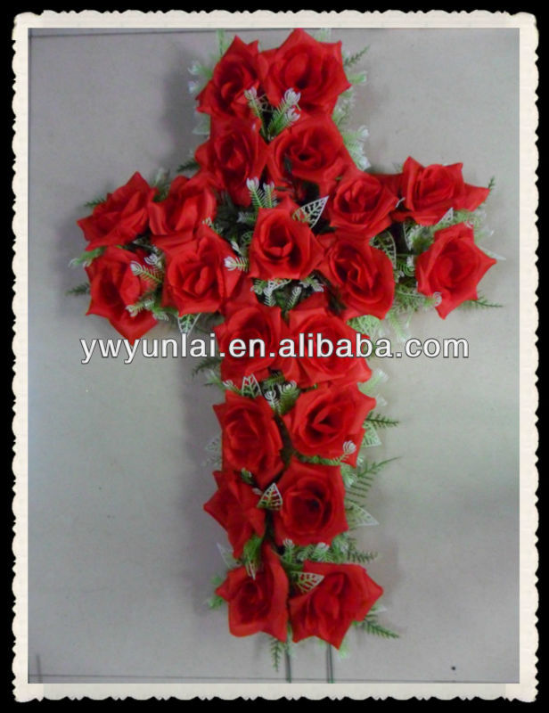 cheap beautiful red cross shape funeral artificial flower wreath for grave arrangement