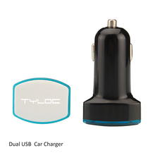 Promotional Gift Phone Car Charger 5V 2.4A Dual USB Car Charger with Led Logo Light