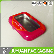 Fancy and high quality tin box with pvc window and zipper opening way/slide fastener