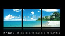 High resolution vast expanse of blue sky sea beach oil painting, group painting