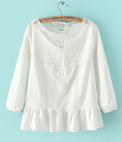 3304 D.Y Fashion ladies hot sale ladies embroider see-through t-shirt