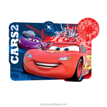 FDA Standard printed for kids car-shaped washable PP plastic placemat