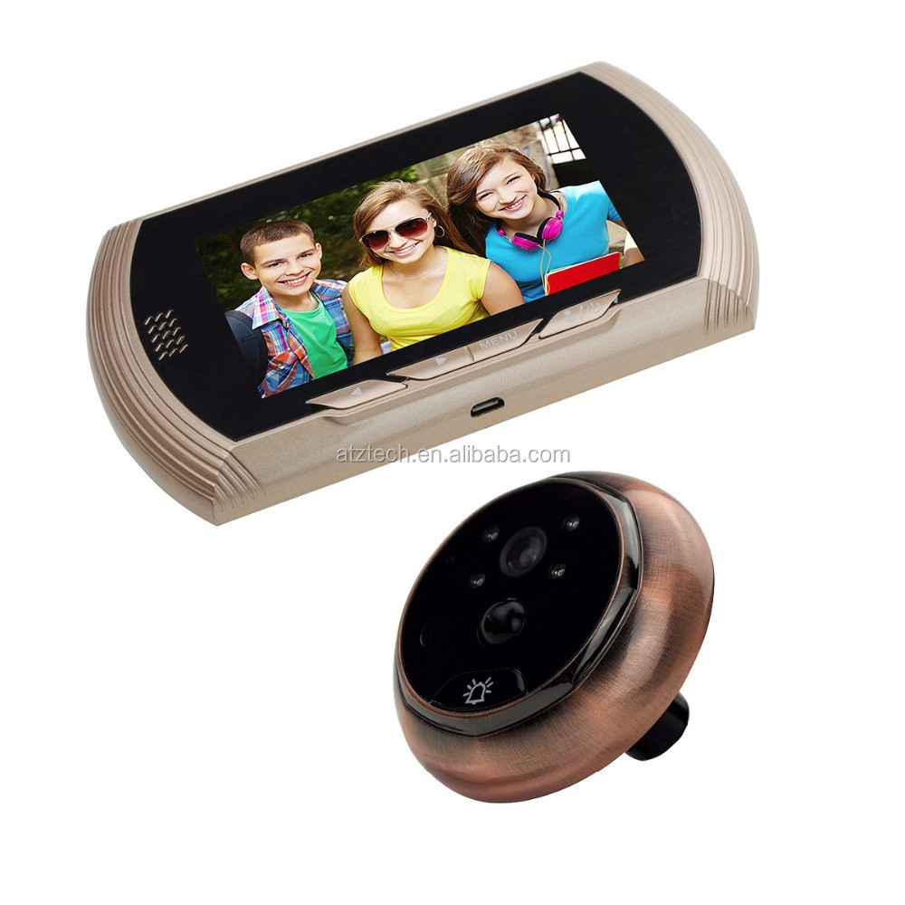ATZ Hot Selling 4.3inch HD LCD Screen Peehole Door Viewer w/ Super Wide View Angle Night Vision PIR Alarm Door Bell