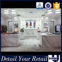 Clothing shop interior design fitting retail furniture table display