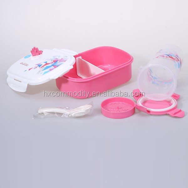New fashion plastic kids lunch box with bottle set