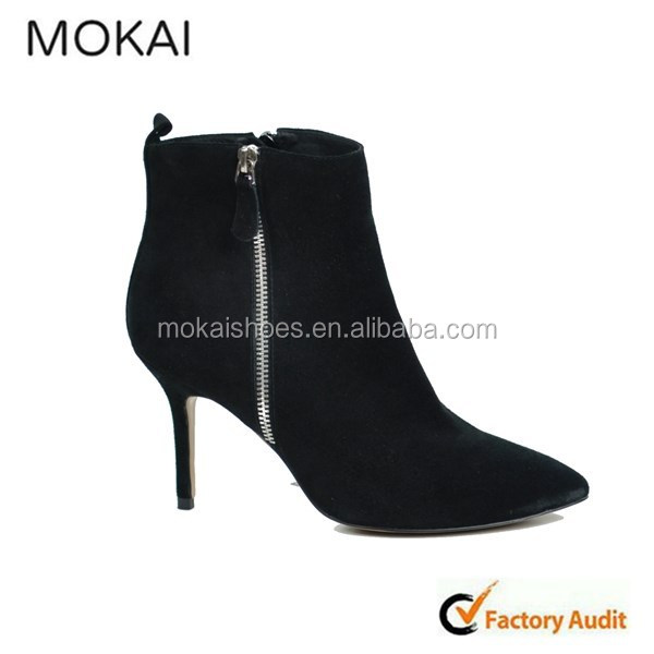 MK048-12 Black suede leather office lady shoes, fashion dress shoes, wholesale ankle boot with thin heel