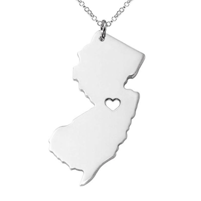 SJUSASN017 SJ Brand 316L Stainless Steel Gold Plated Silver&Yellow Gold&Rose Gold USA New Jersey State Map Dangle Necklace