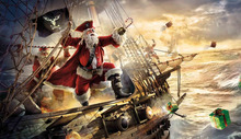 Christmas canvas poster of Santa Claus dressed in pirate