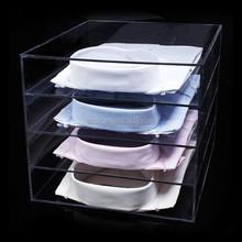 alibaba store clear 4 tiers acrylic shirt display case stand cloth riser
