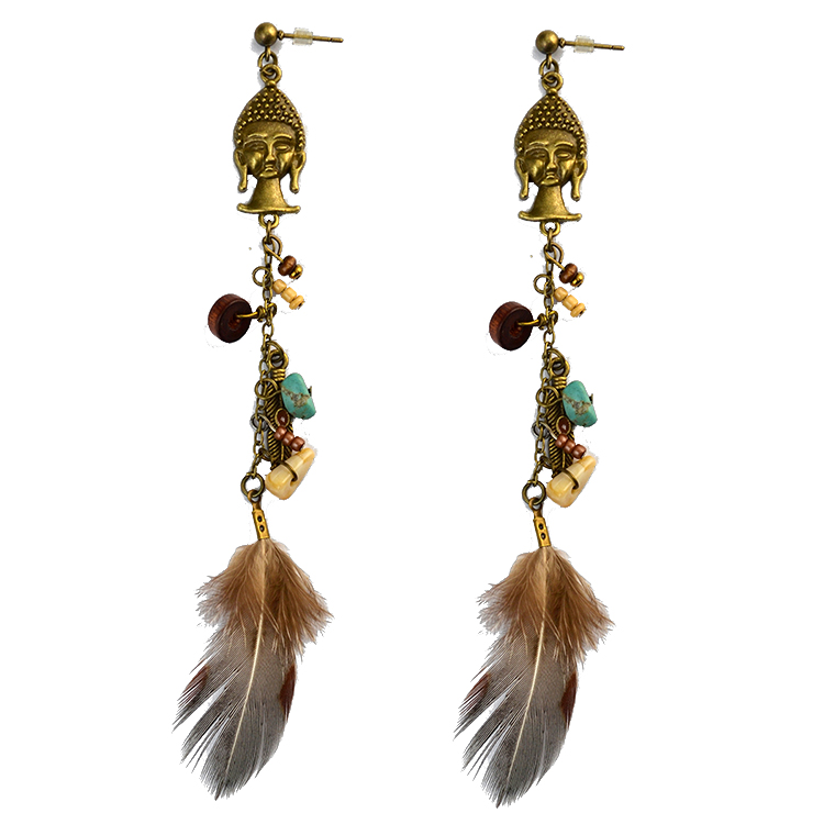 Vintage Bronze Leaf Flower Indians Shape Feather Statement Jewelry Earrings
