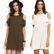 Korean Style Fashion Loose Adult Women's Summer Sexy Hot Photos Cold Shoulder Ruffle Sleeves Shift Short Mini Night Dress