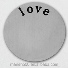 B8 316L stainless steel assceories charms initial disc floating locket love plates