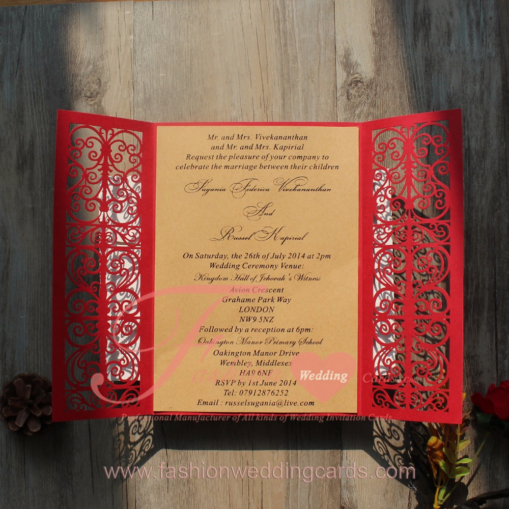 Blue Elegant Bowknot Red Royal Laser Cut Wedding Invitation Card ...