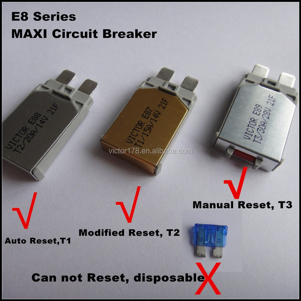 E78 Auto Mini blade Circuit Breaker T2, Modified Reset,5-30A, 14VDC