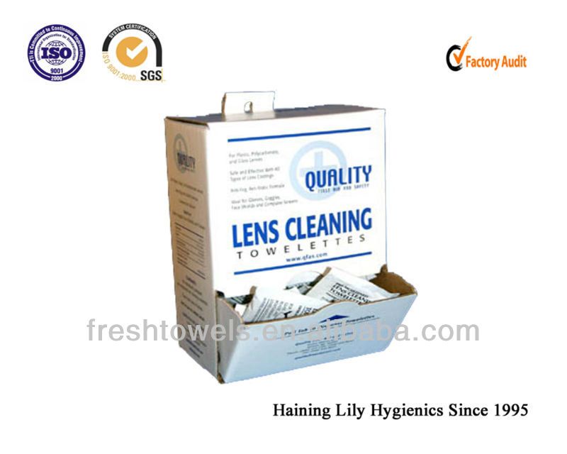 Disposable lens/glesses clean wet wipes/tissues/towels Nonwoven lens wiping cloth