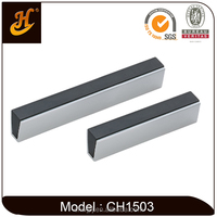 Black Plastic + Aluminium Square Kitchen Cabinet Handle
