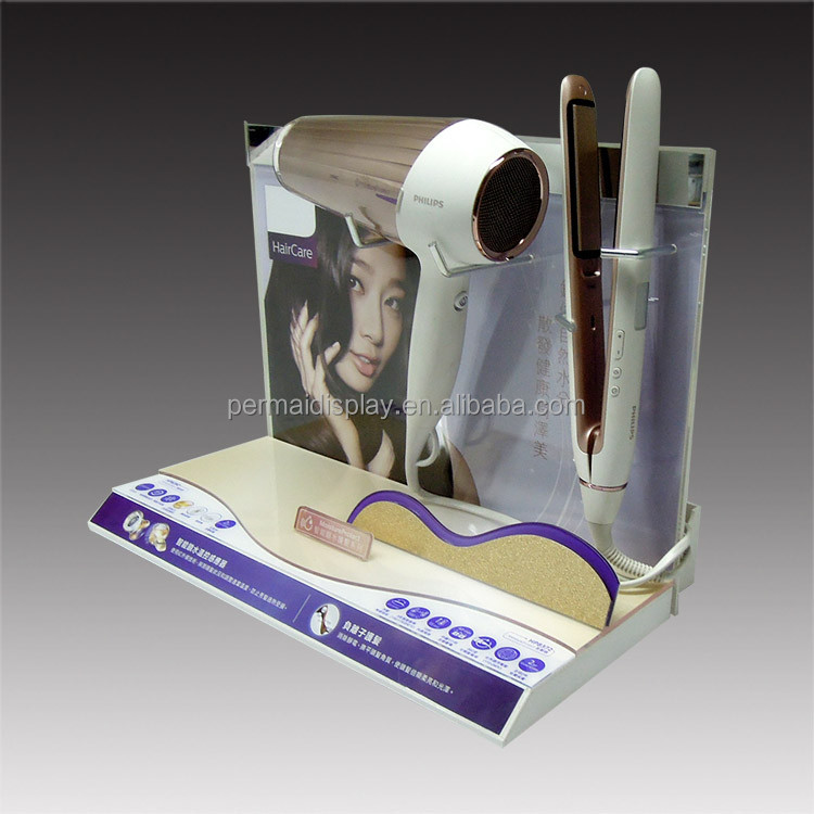 Acrylic Hair curler iron stands/ Hair drier metal hook stands