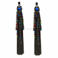 Fashionable beaded chains earring, luxurious long size earring, chains fringe earrings new design