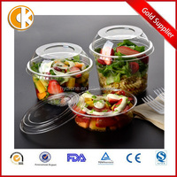 Disposable PET Plastic Salad Bowl Container With Lid