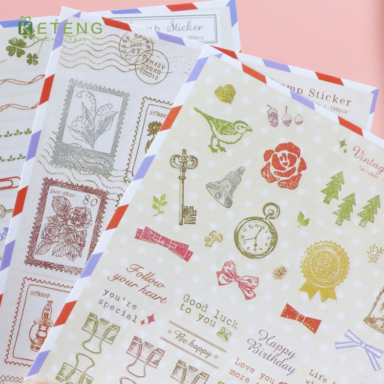 Popular postage stamp and gifts paper sticker made in China