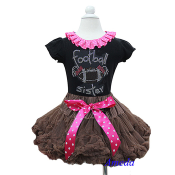 Girl Brown Pettiskirt Polka Dots Bow Plus Rhinestone Football Sister Black Short Sleeves Top 1-7Y