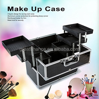 Anself Large Lockable Cosmetic Organizer Box Makeup Case Make Up Containing Storage Box 3-Layers Black