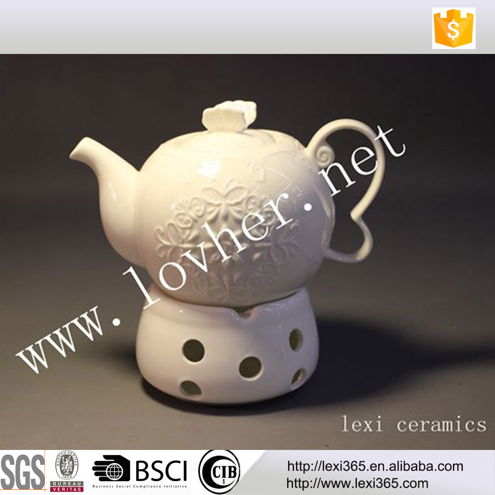 White embossed lace new bone china heated teapot with warmer