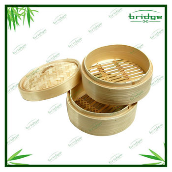 Natural bamboo aluminum steamer set