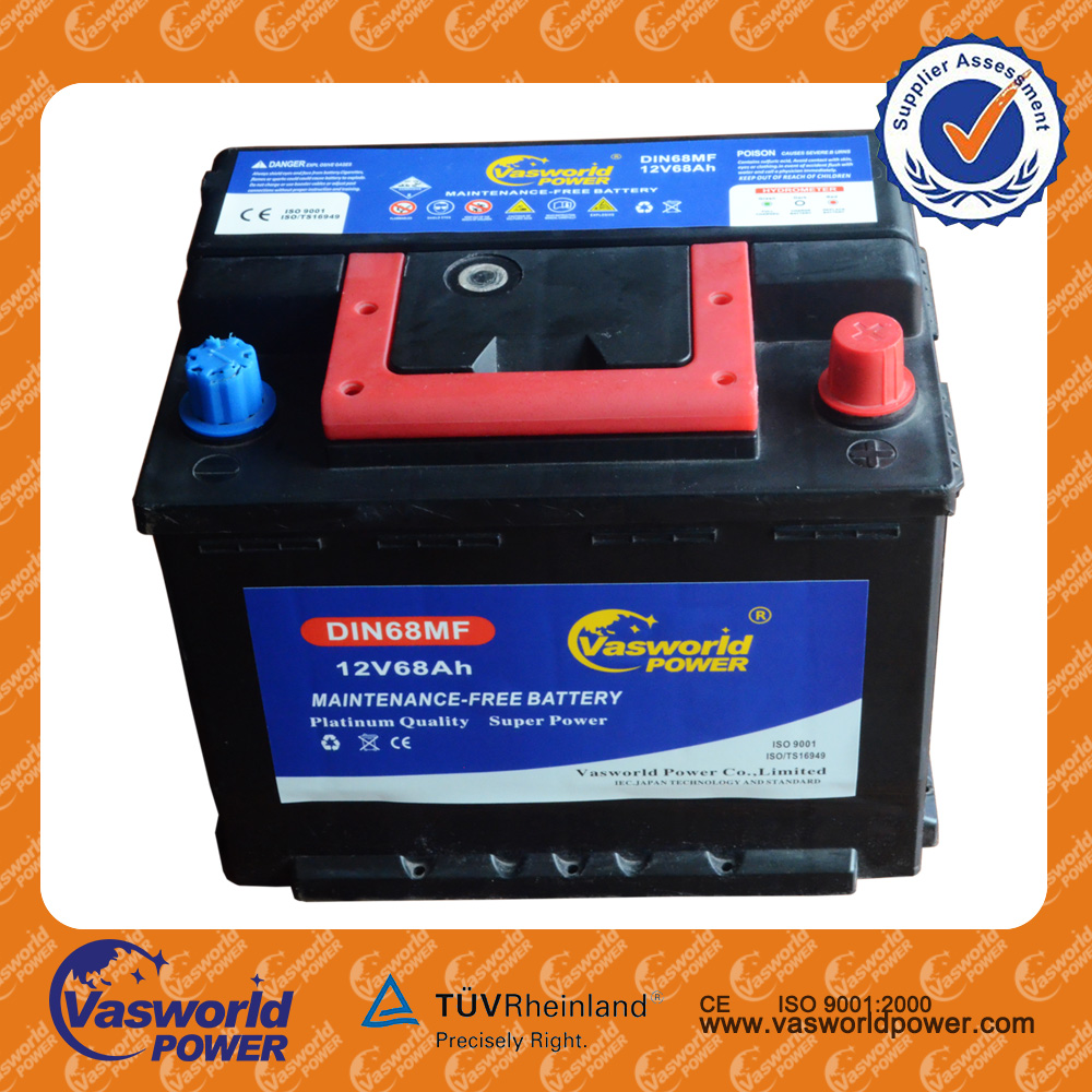 Producing Top Quality euro standard Lead Acid 12v 68ah maintenance free Auto Car Battery with Best quality