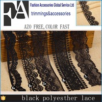 Free Shippment Black Cheap Flower Pattern Embroidery Water Solubility Crocheted Lace