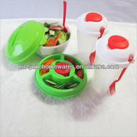 Deluxe BPA Free Plastic Salad On Go Bowl set
