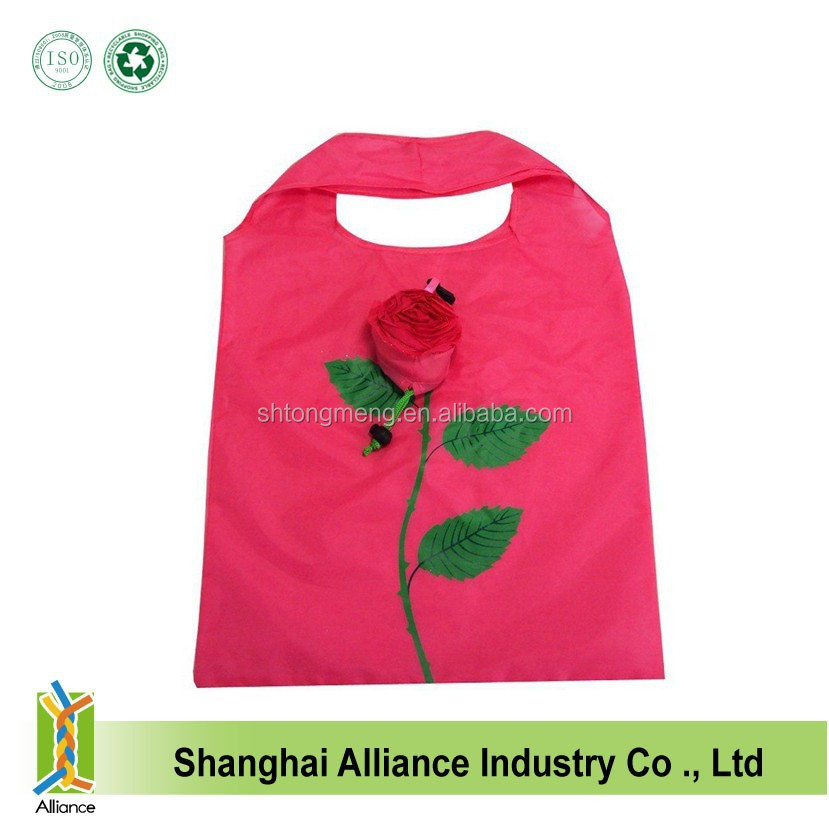 Promotional rose polyester folding handle bags Wholesale flower shape foldable tote bags Reusage shopping tote bags