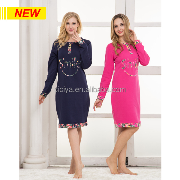 NEW DESIGN WINTER LADY'S NIGHTGOWNS PLUS SIZE THICK O-NECK WITH BOTTON COTTON GOWNS
