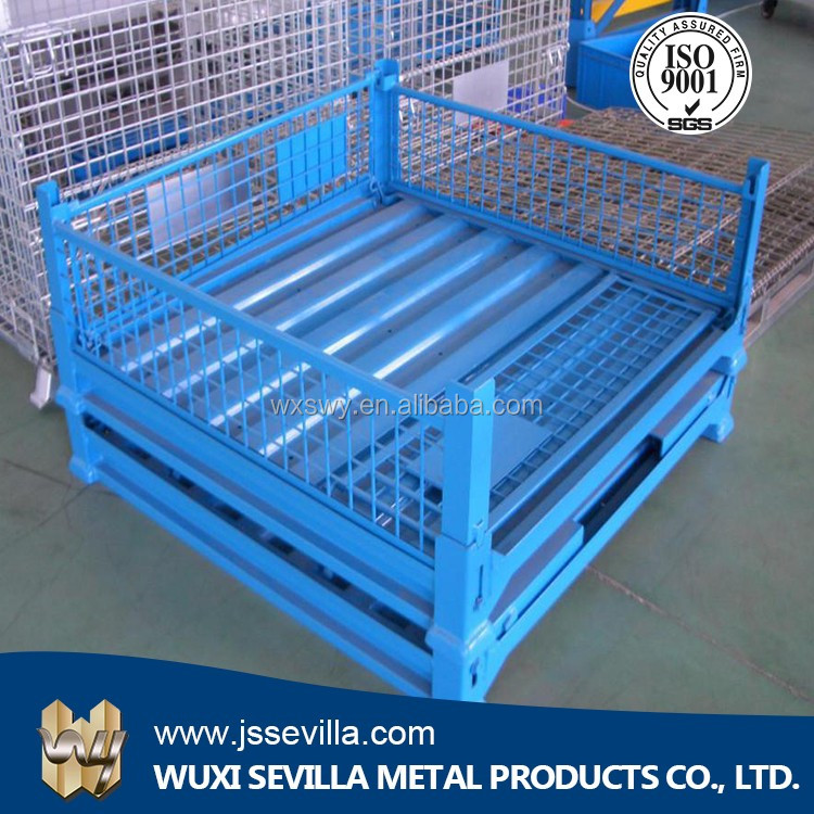 Foldable wire mesh steel pallet box container