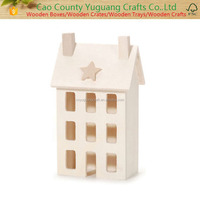 Unfinished Primitive Wooden Craft House,Miniature Wooden House
