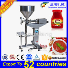 Trade assurance CE certification tabletop filling machine chilli sauce,tin can manual filler