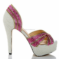 2015 Luxurious Diamond Pearl Upper Dress Shoes for Women Girls White Dress Shoes