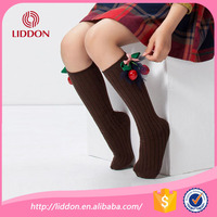 long knee high style cheap wholesale seamed flowers school sexy girls with brown custom socks