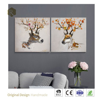 100% handmade 3D art cute deer oil painting new design wall hanging decoration oil painting