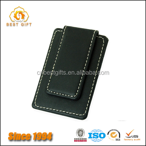 Magnetic Leather Wallet Card Holder Money Clips