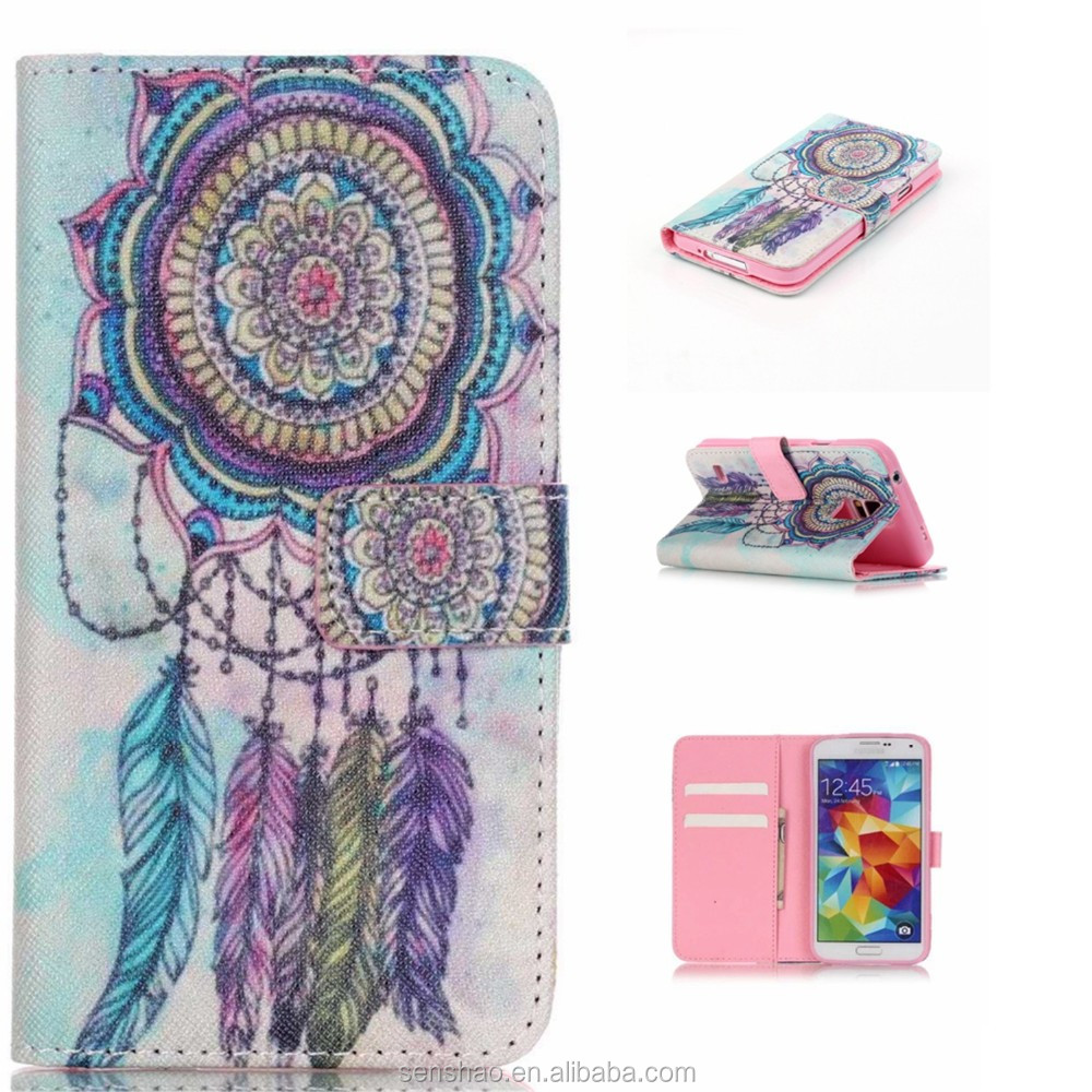 hot selling colorful printing tpu leather case wallet flip case for samsung galaxy s5 phone case with stand function