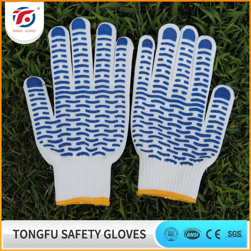 high quality cotton pvc dotted freezer garden gloves with pvc dots