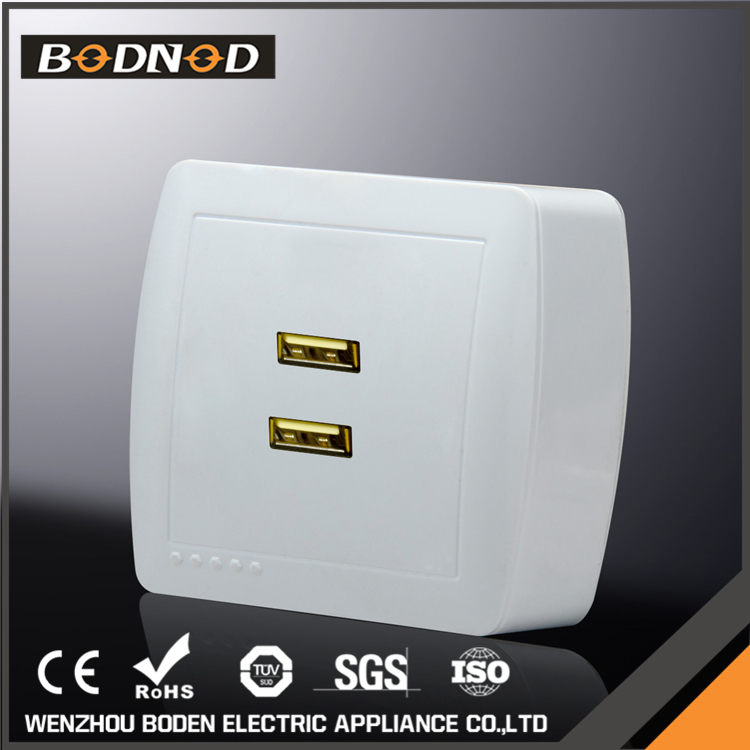 Top quality electrical double usb socket wall europe