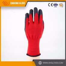 Xinhong 13 gauge red nylon 3/4 coated foam black latex gloves /Industrial wrok glove/safety glove from China