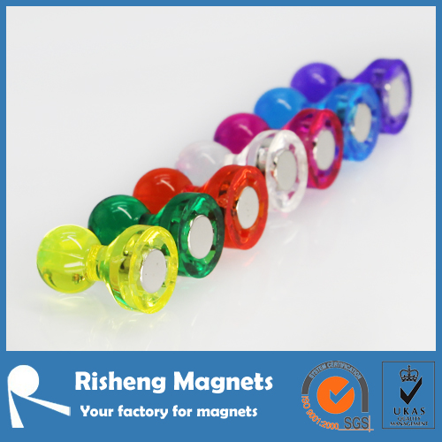 Small colourful push pin magnet