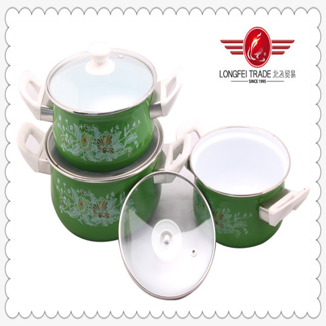2014s popular 3PCS cast iron enamel cookware casseroles with glass lid and bakelite knob